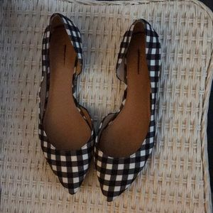 Navy and white gingham flats